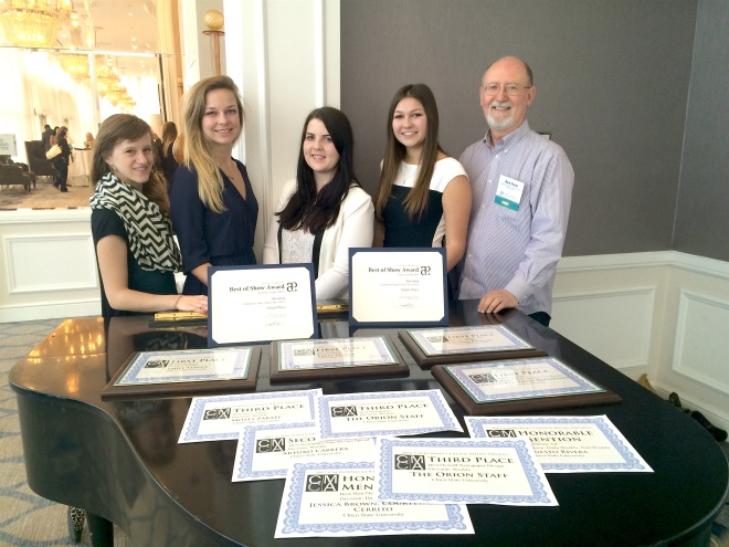 Students from The Orion at Chico State and their CCMA awards in 2015.